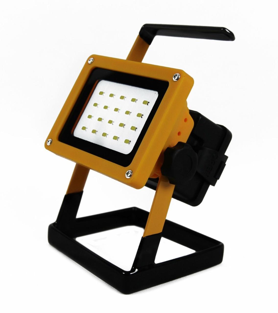 Переносной светодиодный прожектор 20W аккум Вт 2400 Лм (авто зарядное устройство, и сетевое 220V) IP65