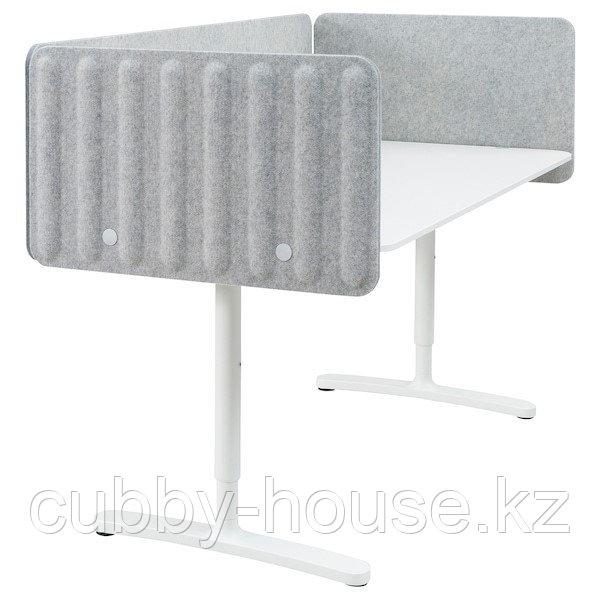 BEKANT БЕКАНТ Стол с экраном, белый/серый, 160x80 48 см