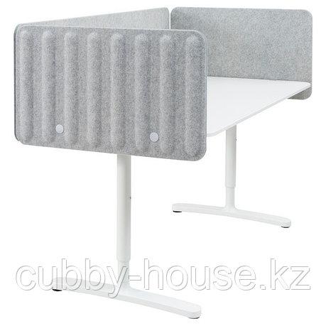BEKANT БЕКАНТ Стол с экраном, белый/серый, 160x80 48 см, фото 2