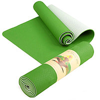 Коврик для йоги / двухслойный / зеленый/белый / 182х61 см / толщина 8 мм / Yoga mat