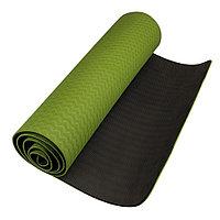 Коврик для йоги двухслойный зеленый/черный / размер 182х61 см / толщина 8 мм / Yoga mat