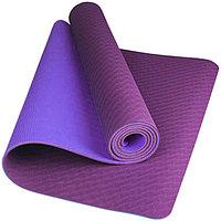 Коврик для йоги двухслойный / фиолетовый/синий / размер 182х61 см / толщина 8 мм / Yoga mat