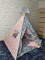 Детская палатка вигвам 4х гранный Розовый Фламинго