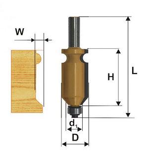 Фреза кромочная фигурная Ф22,2Х41 мм, хвостовик 12 мм