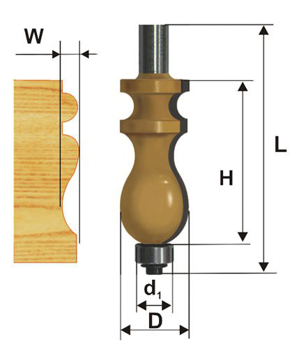 Фреза кромочная фигурная Ф22,2Х41,3 мм, хвостовик 12 мм