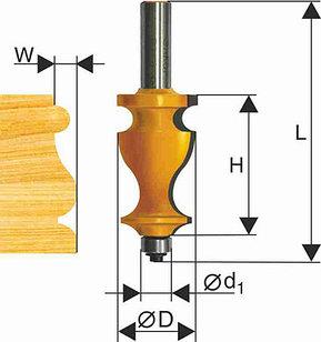 Фреза кромочная фигурная Ф27Х41,3 мм, хвостовик 12 мм