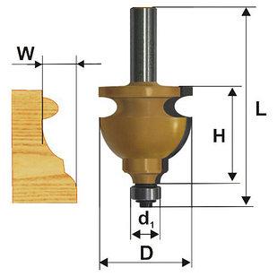 Фреза кромочная фигурная Ф44,5Х28,6 мм, хвостовик 12 мм