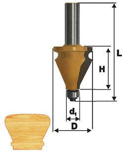Фреза кромочная фигурная Ф35Х38,1 мм, хвостовик 12 мм