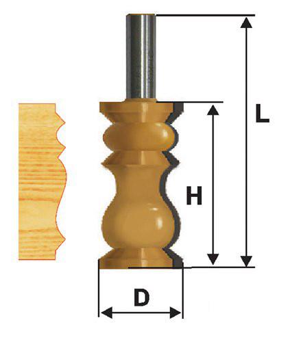 Фреза кромочная фигурная Ф32Х57,2 мм, хвостовик 12 мм