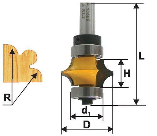 Фреза кромочная фигурная Ф22,3Х9,5 мм R3,2 мм, хвостовик 8 мм