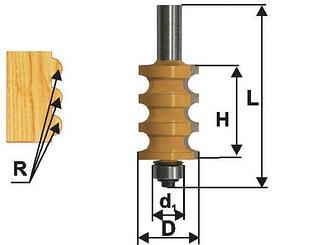 Фреза кромочная фигурная Ф22,3Х25,4 мм R3,2 мм, хвостовик 12 мм