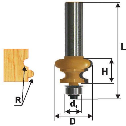 Фреза кромочная фигурная Ф25,5Х16 мм R3,2 мм, хвостовик 12 мм