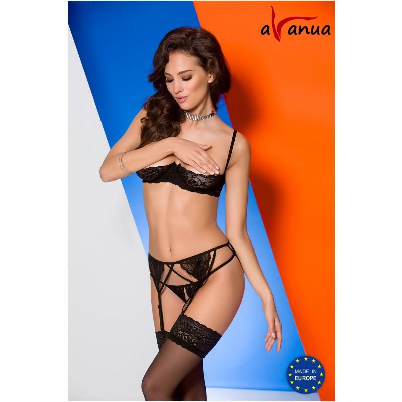 """Комплект """"KSENIA SET WITH OPEN BRA"""" black - Avanua, размер S"""