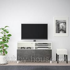 BESTÅ БЕСТО Тумба под ТВ, с дверцами, белый Кэлльв/Стуббарп/темно-серый под бетон, 120x42x74 см, фото 3
