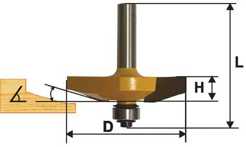 Фреза фигирейная горизонтальная Ф63,5Х16 мм, хвостовик 12 мм