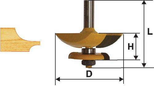 Фреза фигирейная горизонтальная двусторонняя Ф79,4 мм, хвостовик 12 мм
