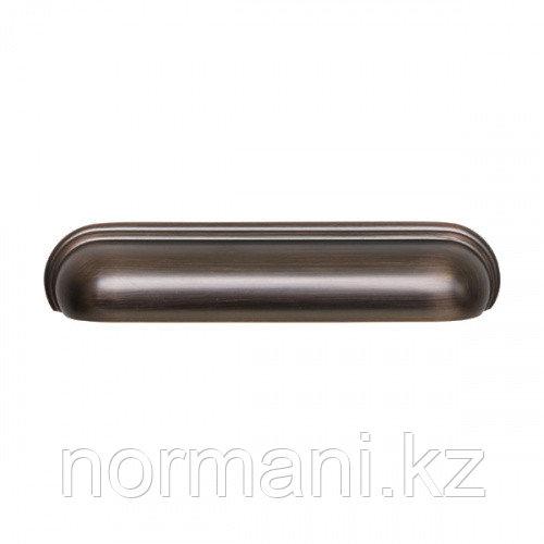 Ручка ракушка 128мм, отделка медь