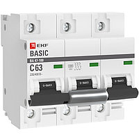 Выключатель автоматический ВА 47-100, 3P, 63A, (C) 10kA_EKF Basic