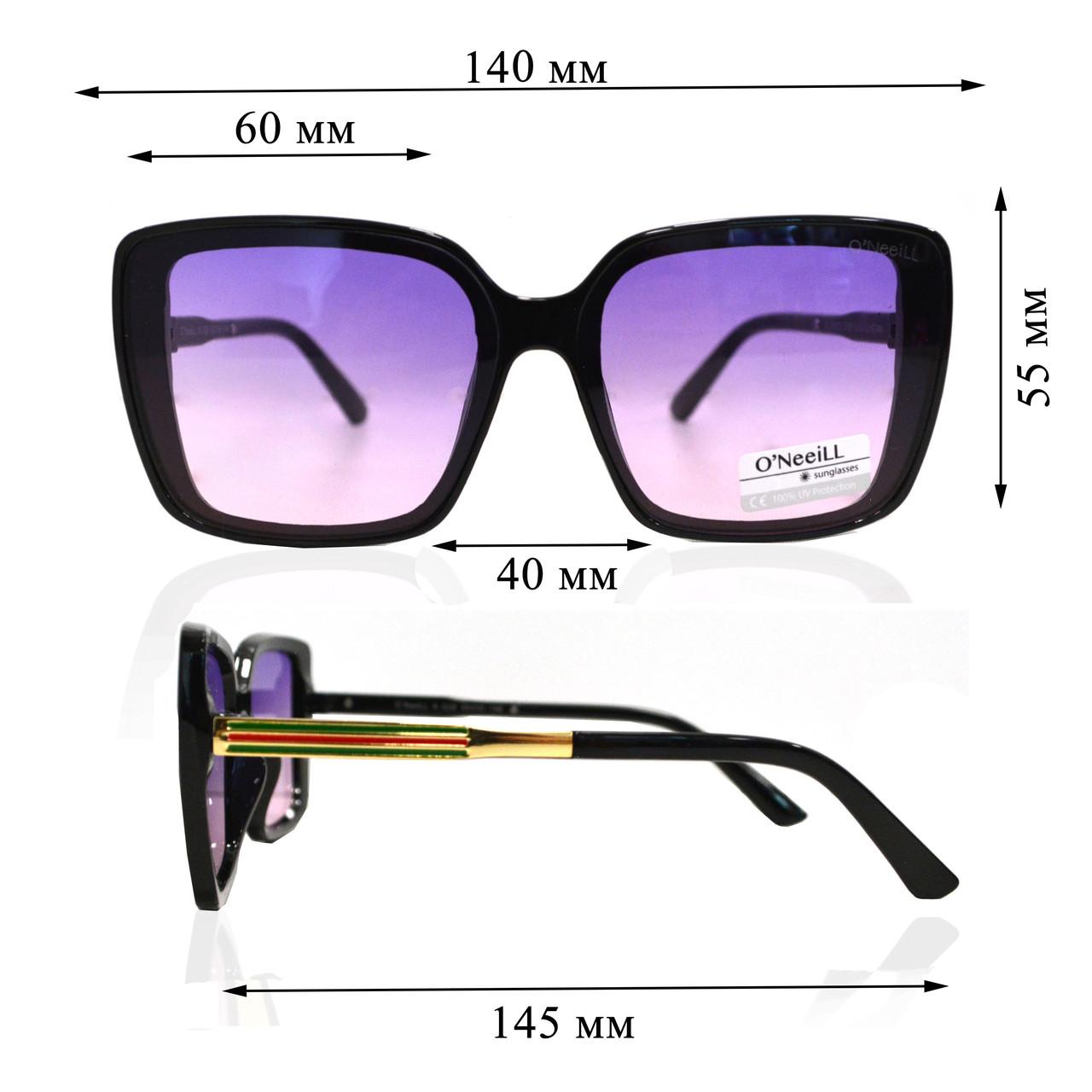 Солнцезащитные очки с фиолетовыми стеклами с узором на дужке UV 400 O'NeeiLL N G 28 черные - фото 2