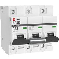 Выключатель автоматический ВА 47-100, 3P, 80A, (C) 10kA_EKF Basic