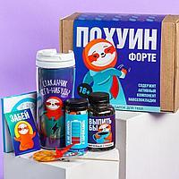 Подарочный набор «Пофигин»: чай 50 г., драже 80 г., шоколад 20 г., термостакан 350 мл., леденец 15 г., открытк