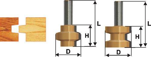 Набор фрез пазо-шиповых Ф38,1Х28,6 мм, хвостовик 8 мм, 2 штуки