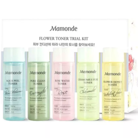 Mamonde flower toner trial kit - Набор миниатюр цветочных тонеров для лица (5шт*25мл.)