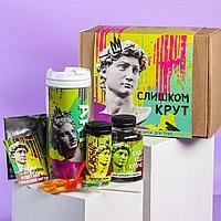Подарочный набор «Слишком крут»: чай 50 г., драже 80 г., шоколад 20 г., термостакан 350 мл., леденец 15 г., от