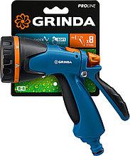 Пистолет поливочный двухкомпонентный, GRINDA PROLine B-8, 8 режимов, курок сзади