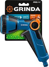 Пистолет поливочный двухкомпонентный с регулятором напор, GRINDA PROLine X-S, душевой, 4 режима, курок спереди