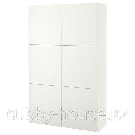 BESTÅ БЕСТО Комбинация для хранения с дверцами, белый/Лаппвикен белый, 120x42x193 см, фото 2