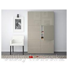 BESTÅ БЕСТО Комбинация для хранения с дверцами, белый/Сельсвикен глянцевый/бежевый, 120x42x193 см, фото 3