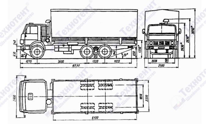 Тент на КамАЗ 53212,  КамАЗ 53215,  КамАЗ 43118