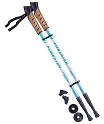Палки для скандинавской ходьбы Forester, 67-135 см, 3-секционные, белый/мятный Berger