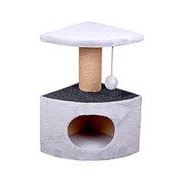 Когтеточка - лежанка домик угловой с ворсом 7 Котиков