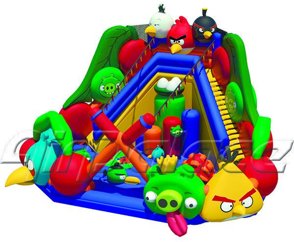 Надувной большой батут Веселое гнездо 7,5*9.3*3,6 м