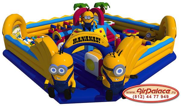 Надувной большой батут Банановый рай 10*10*4,2 м