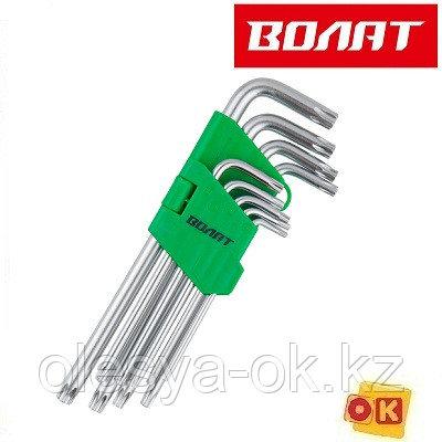 Набор ключей Torx T10-T50 9шт удлиненных с отверстием ВОЛАТ 11020-09)