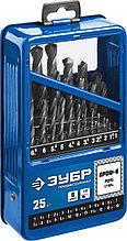 Набор сверл по металлу, сталь Р6М5, класс В, мет.бокс, ЗУБР ПРОФ-В 25шт(1-13мм)
