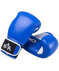 Перчатки боксерские Wolf Blue, кожа, 14 oz KSA