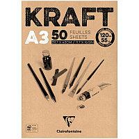"""Блокнот для эскизов и зарисовок 50л. А3 на склейке Clairefontaine """"Kraft"""", 120г/м2, верже, крафт"""