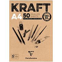 """Блокнот для эскизов и зарисовок 50л. А4 на склейке Clairefontaine """"Kraft"""", 120г/м2, верже, крафт"""