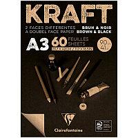 """Блокнот для эскизов и зарисовок 60л. А3 на склейке Clairefontaine """"Kraft"""", 90г/м2,верже,черный/крафт"""