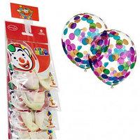"""Воздушные шары, 2шт, 12/30см, Поиск """"Декоратор"""", наполн. круги конфетти бумага ассорти, стрип-лента"""