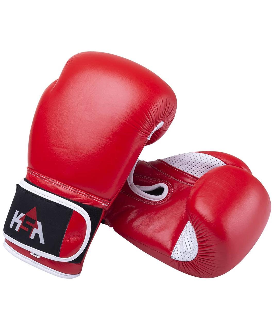 Перчатки боксерские Wolf Red, кожа, 14 oz KSA