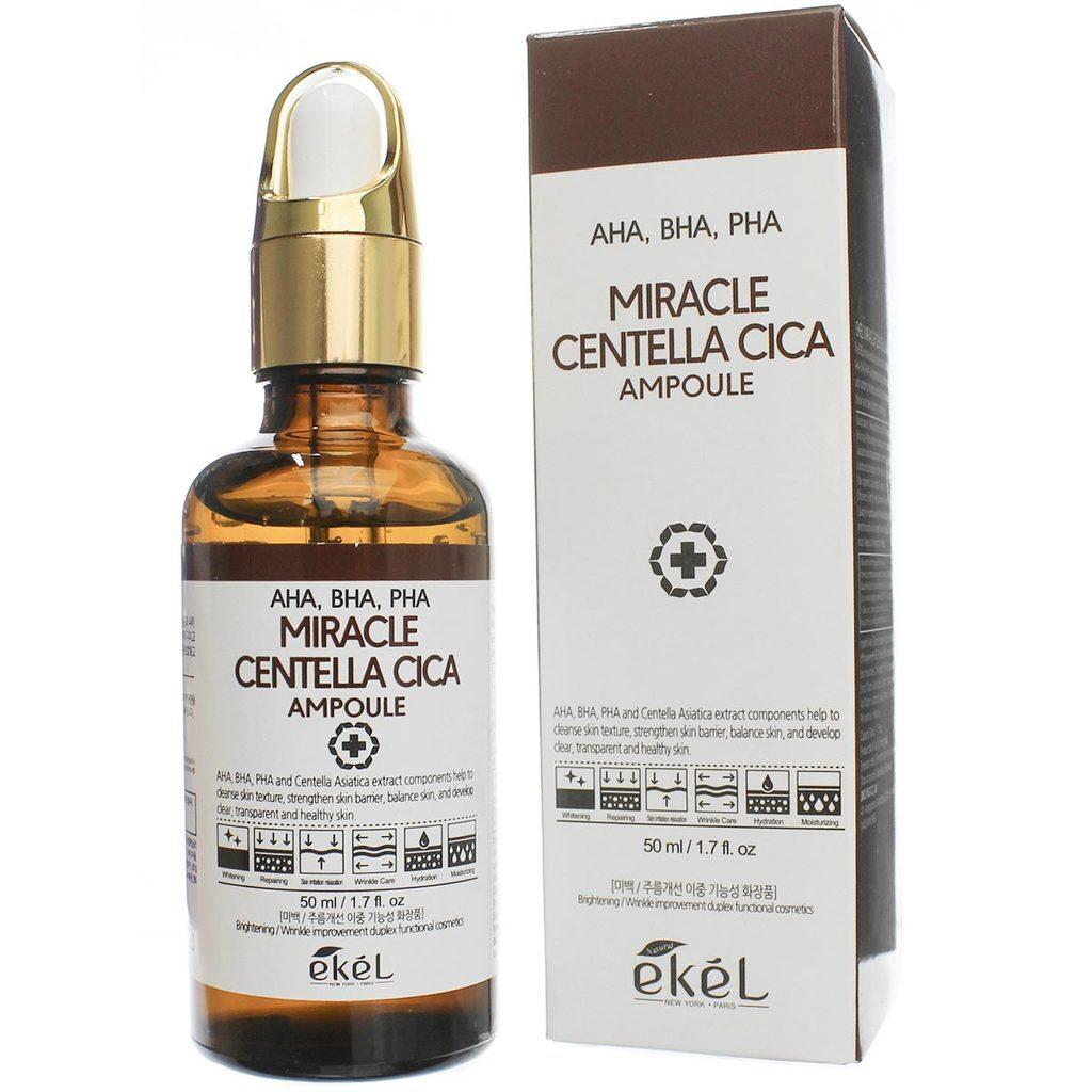 Ekel AHA, BHA, PHA Miracle Centella Cica ampoule Ампульная сыворотка для проблемной кожи с кислотами 50мл.