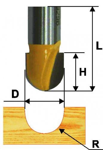 Фреза пазовая галтельная ф12,7х10 мм R6,35 мм хвостовик 8 мм