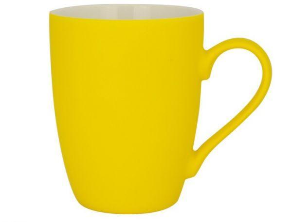 Керамическая кружка с прорезиненным покрытием, 340мл (желтая)