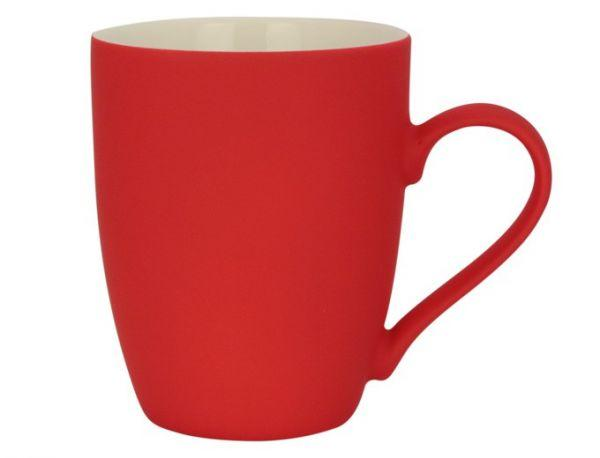 Керамическая кружка с прорезиненным покрытием, 340мл (красная)