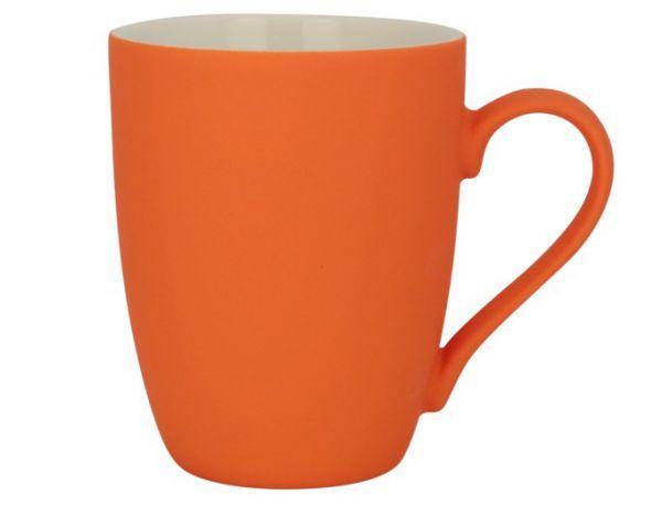 Керамическая кружка с прорезиненным покрытием, 340мл (оранжевая)